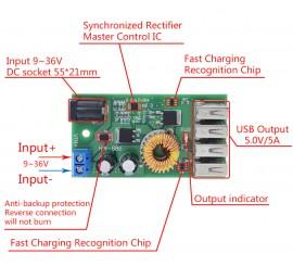 Понижающий модуль с 9-36 v до 5 v 5 Amper